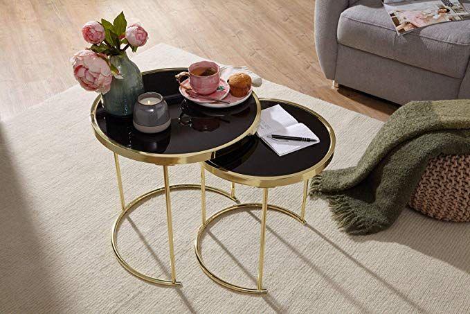 Affiliatelink Finebuy Design Satztisch Caro Schwarz Gold