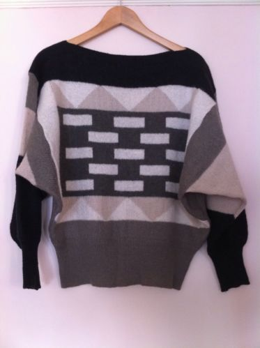 Retro Vintage VTG Ladies Woman's 80s 1980s Batwing Mohair Jumper Oversized