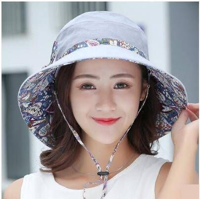 Fashion paisley bucket hat with strings for women UV sun hats summer