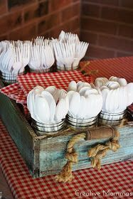 I saw this on pintrest and it made me smile. I have the same exact wood tray and I use it the SAME exact way for cook outs! Utensils in cups and all!