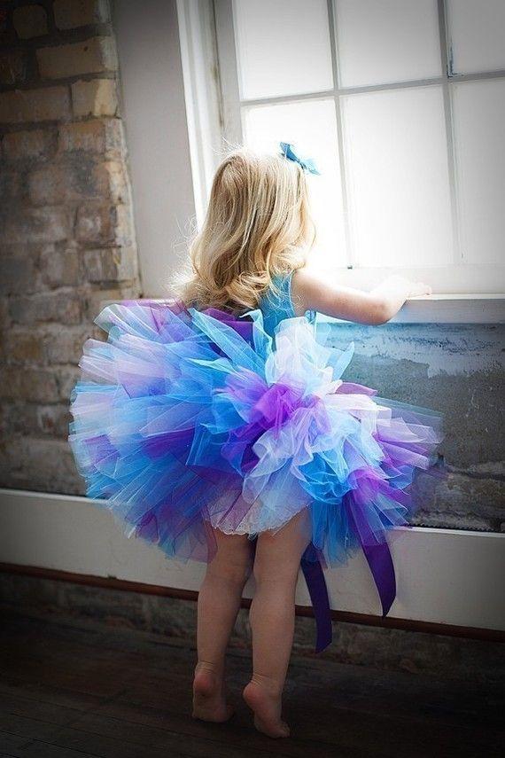 Purple Blue Tutu Custom Sewn Tutu set great for  baby, toddlers, birthdays, baby showers