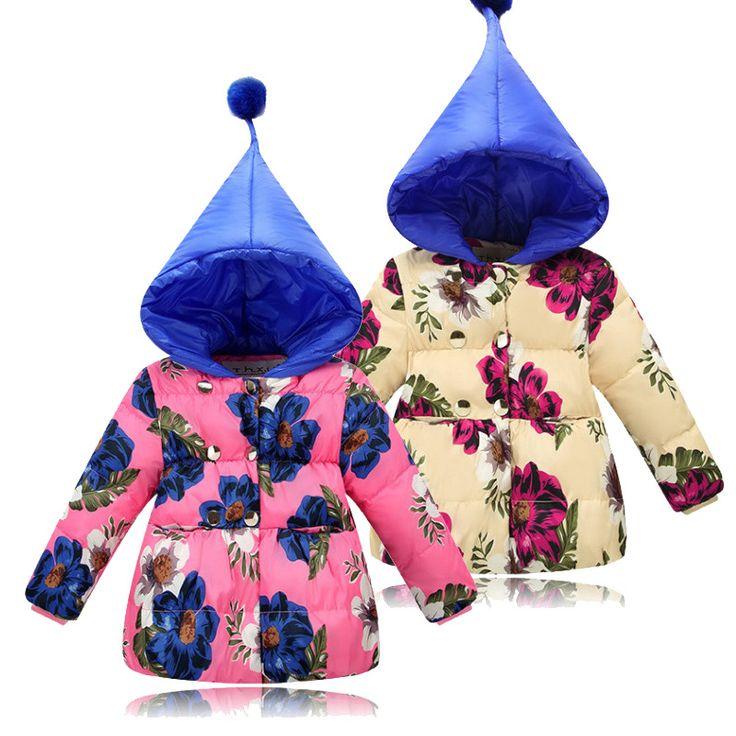 BINIDUCKLING  winter jackets for girls kids fashion floral printed girls parka coats thick fleece warm children girls jackets