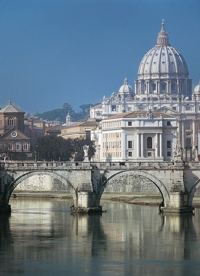 St Peters Basilica, started 1506,designed by Michelangelo, in Vatican City, mostly surrounded by Rome, Italy.