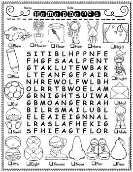 Homophones: Are you working on identifying homophones in literature or using them in writing? If so, your students will enjoy this fun homophones themed word search!! If your students are like mine, they love these. In this homophones themed puzzle, words are found forward, backward, up, down, and diagonal.