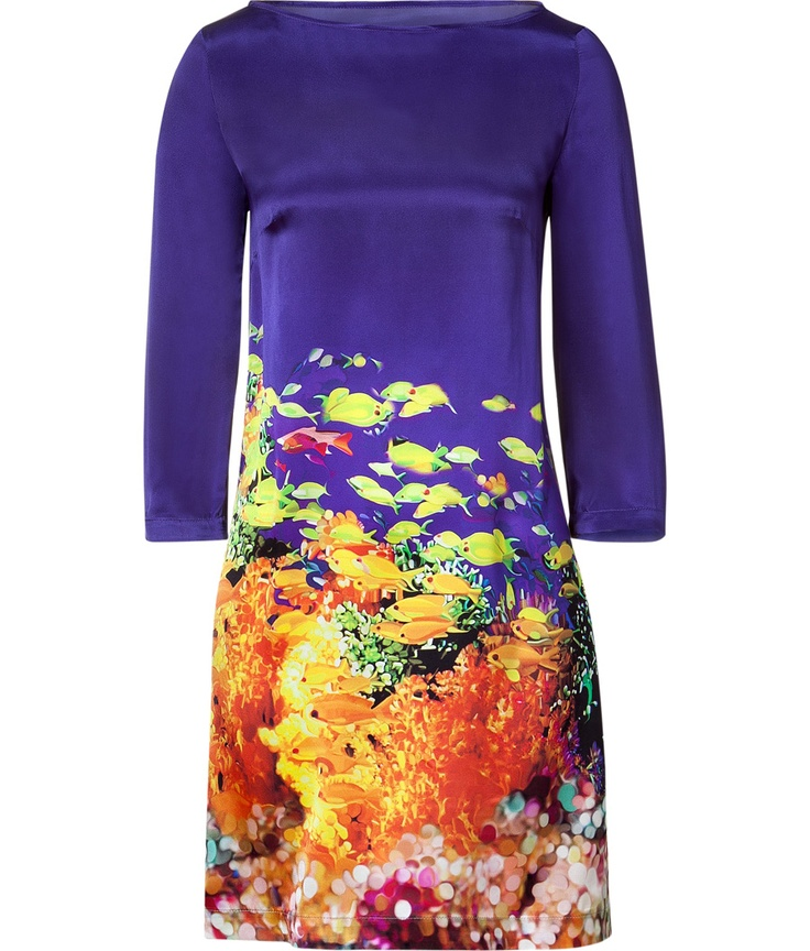 Make a bold statement in this printed Technicolor dress from London-based It designer Mary Katrantzou - Bateau neckline, three-quarter sleeves, shift style, all-over underwater print - Pair with an oversized cardigan, opaque tights, platform heels, and an embellished clutch