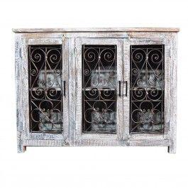 Metal Jali 3 Door White Sideboard