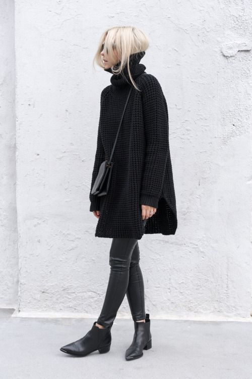 huge oversized black knit | skinny black jeans | pointed Chelsea boots