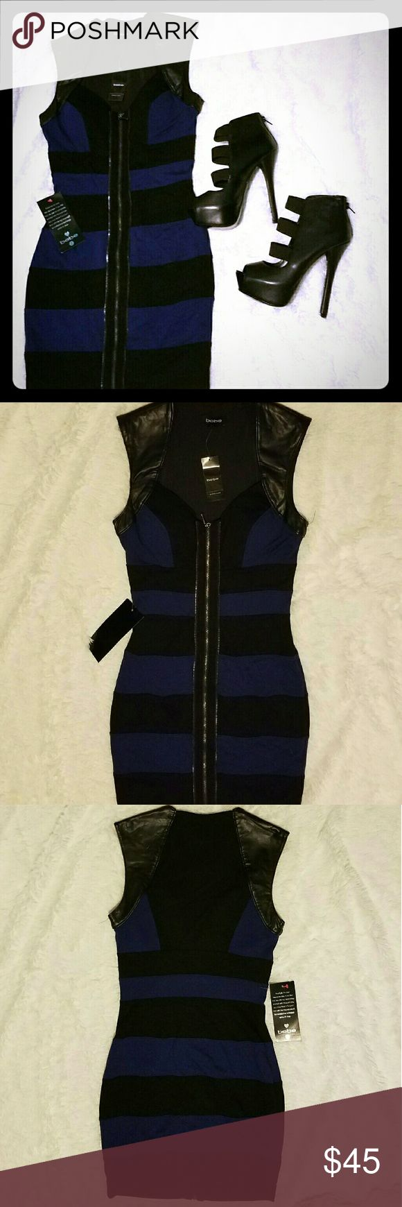 Bebe sleevles zip  front dress Bebe sleevles zip front dress hits about 3in above my knees and in 5'5 Dresses Mini