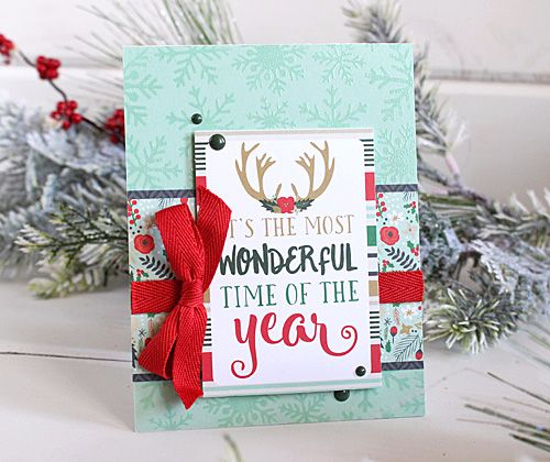 """A Week of Christmas Cards: Day 1 - """"Wonderful time of Year"""" card by Kimberly Crawford with the """"Deck the Halls"""" collection and designer stencil by #EchoParkPaper"""