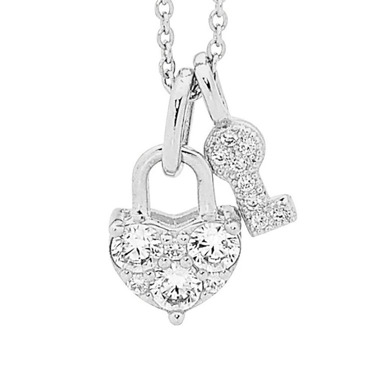 Georgini Lock and Key Pendant in Sterling Silver on Chain image-a