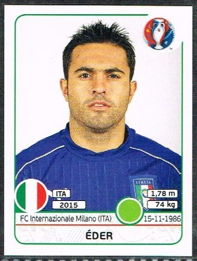 UEFA EURO 2016 eder  Italy - 515 #Panini #stickers #Italy #Eder
