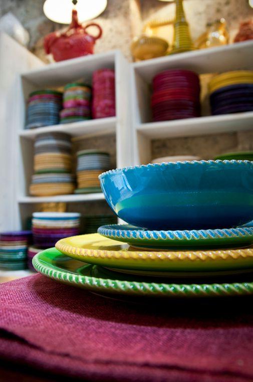 Enza Fasano   Collezione piatti colorati e decorati