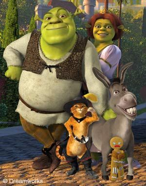 Shrek movies have cute creatures for kids, but have humor and music I like.