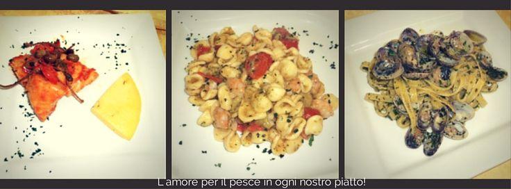 Filetto di Baccalà in umido con olive Taggiasche Tagliolini con Vongole, Pesto fresco e Robiola Orecchiette con Gamberi, Broccoli e Pomodorini