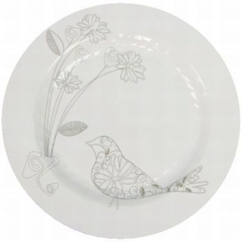 Masterpiece Floral Bird 10-1/4-inch Plates, White 12 Per Pack by Masterpiece. $15.89. Durable Rigid Plastic. Manufactured to the Highest Quality.. Re-Usable/Disposable Top Shelf Dishwasher Safe. Made in the USA. Masterpiece upscale dinnerware combines the elegance and refinement of hand-painted china with the convenience of a disposable. Masterpiece dinnerware features printed accents and delicate fluting that enhance food presentations and distinguish table settings with s...