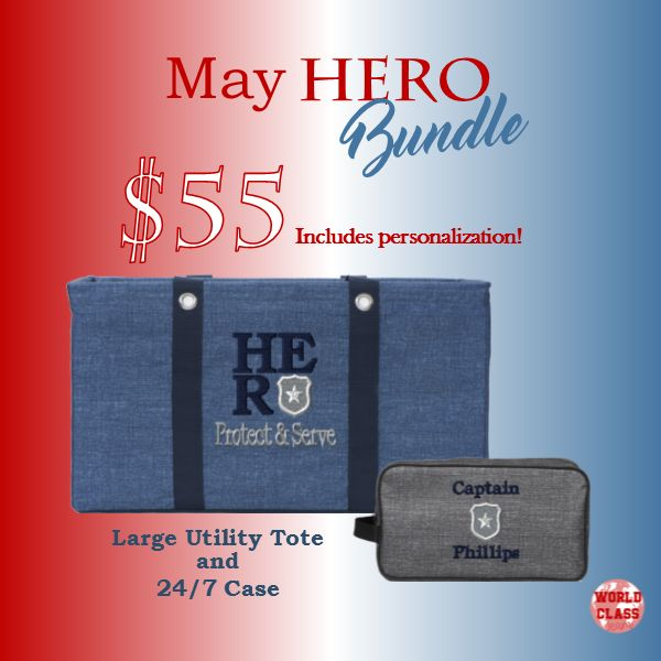 Who is your HERO? Show him/her how much you care with this bundle from Thirty-One Gifts. Pricing good through May 31, 2017 #morebagsplease #LargeUtilityTote #24/7Case #HERO #Protect&Serve #PersonalizationStudio