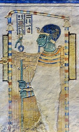 Standing in a shrine & wearing his typical blue cap, this relief in the tomb of Amenherkhepshef portrays the god Ptah. Ptah was the god who conceived the world by the power of his thoughts & words, not unlike the judeo-christian god. amenherkhepshef was a royal scribe, commander of the cavalry & son of Ramses III