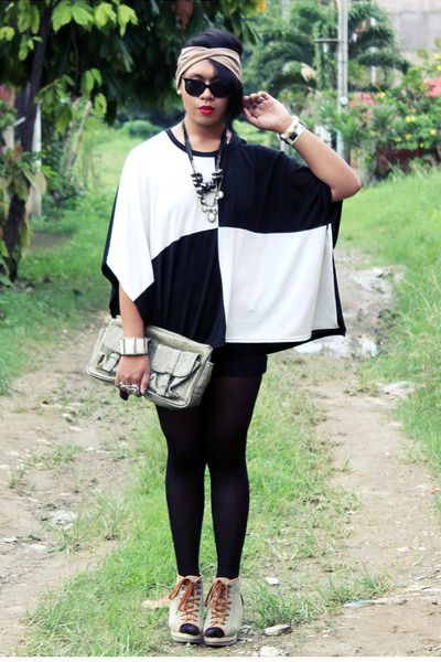 Black and white batwing top.