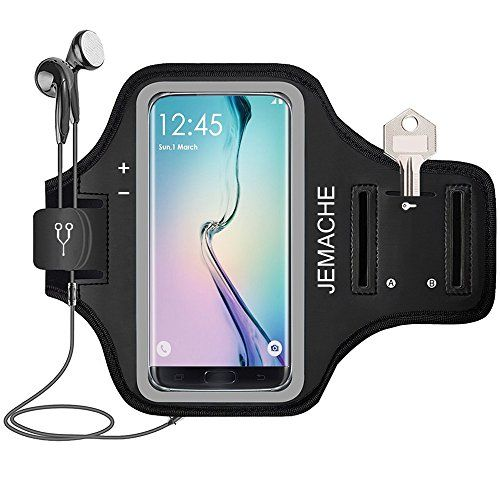 "Galaxy S7 Edge/S8/S8+ Armband, JEMACHE Gym Run Workout Arm Band for Samsung Galaxy S8/S7 Edge/S8 Plus with Key/Card Holder (Fit Spigen Case) 5.5"" Extender Strap - Running Jogging Exercise  Excellent Material: We choose breathable neoprene to provide soft, odor-free and lightweight wearing experience. It is stretchable and washable. With a HD transparent PVC front cover, provides High Screen Sensitivity, to make the touch screen function normally.  Practical Additional Function: The arm..."