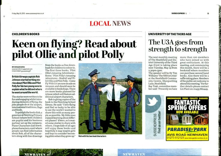 Plane Characters Children's Books featured in the Sussex Express Newspaper with Pilot Ollie, Pilot Polly and author Robert Johnson - http://www.planecharacters.com/news/plane-characters-featured-in-the-sussex-express/ #PilotOllie #PilotPolly