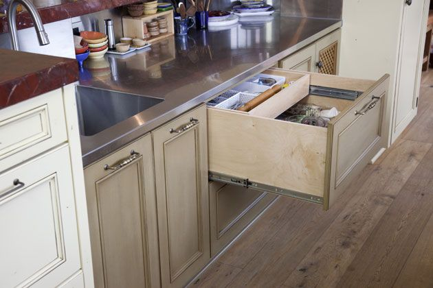 Kitchen:  European architecture, old architecture, Spanish design, Mediterranean, Tuscan, Italian, French, European styles, California Ranch, kitchen Island, trim, paint & stained cabinets, raised panel cabinet doors, glass panel cabinet doors, cabinet pulls,  natural wood floor.