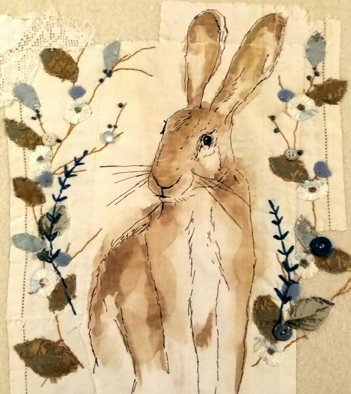 Hare by Emily Henson hand sewn vintage fabrics. Coffee and buttons. www.facebook.com/bibliboo