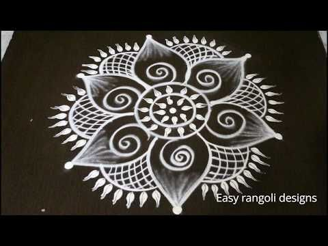 easy rangoli designs with out dots for nava rathri || simple kolam designs for pooja - muggulu - YouTube