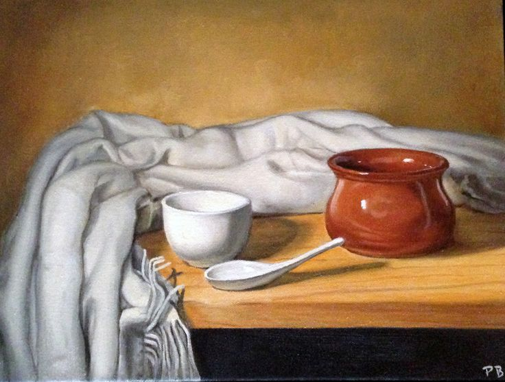 Still Life with Clay Pot Oil on Canvas 30cmx40cm Peter Barker Art