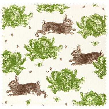 rabbit/cabbage ivory linen fabric by Thornback & Peel at Galerie CO