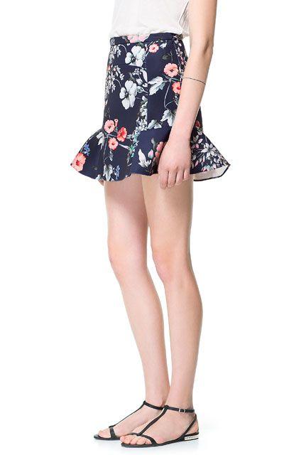 PRINTED SKIRT WITH RUFFLES - Skirts - Woman - ZARA France