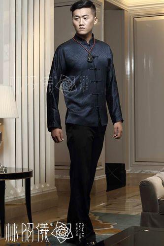 紺色シルク×黒瑪瑙ボタン×長袖メンズ・高級チャイナ服 - China Princess(高級チャイナドレス----林昭儀ZhaoyiLinのオリジナル・デザイン)