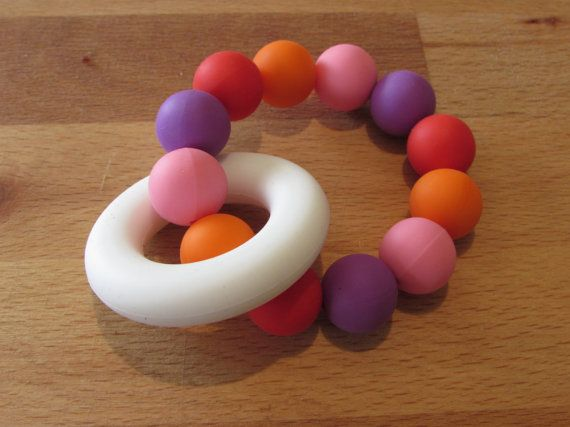 A beautiful colourful teether that your baby will love!  The ring and beads are made from 100% food grade silicone. They are BPA and FDA free making them a great option for your baby as they have no nasties.