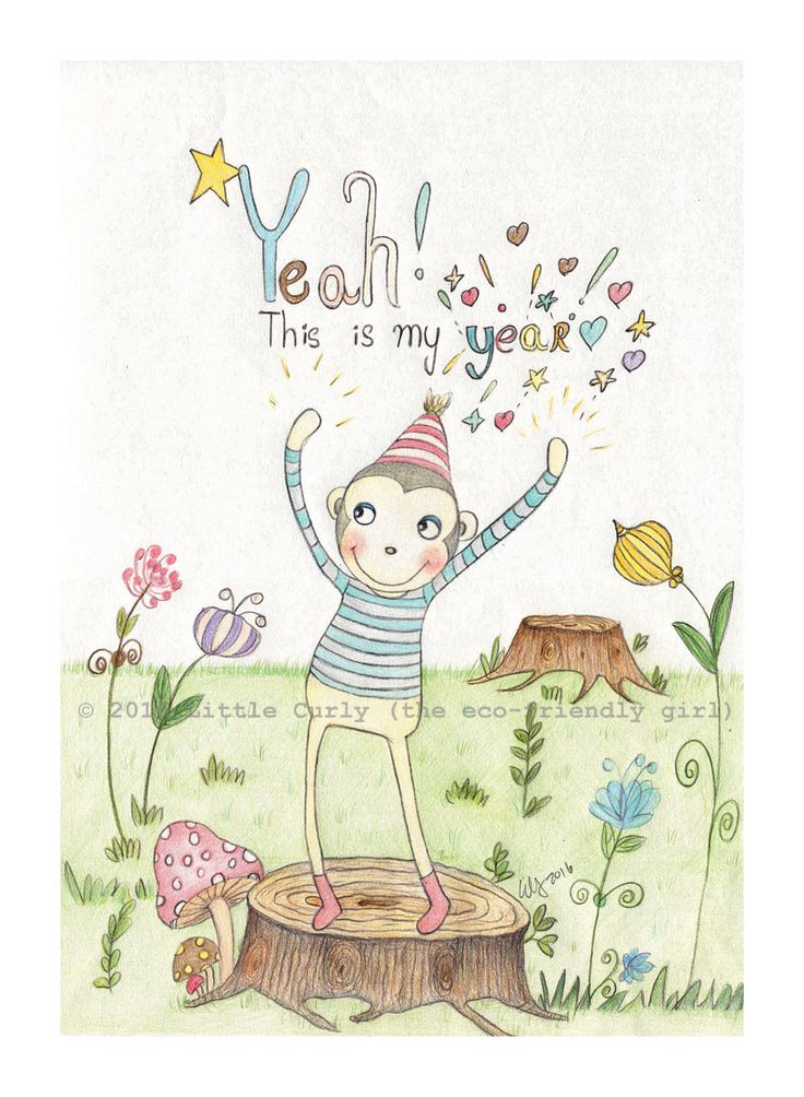 Yeah! This is my year!  Little Curly(the eco-friendly girl)'s Woodland friend Monkey boy is VERY excited because from Feb 2016 is his Year - The Year of Monkey!   Illustration by Ella  Parry    © 2016 Little Curly (the eco-friendly girl)  #illustrations #children art  #monkey #whimsical illustrations  #ella parry #little curly the eco-friendly girl  #nursery decor  #art #baby #prints