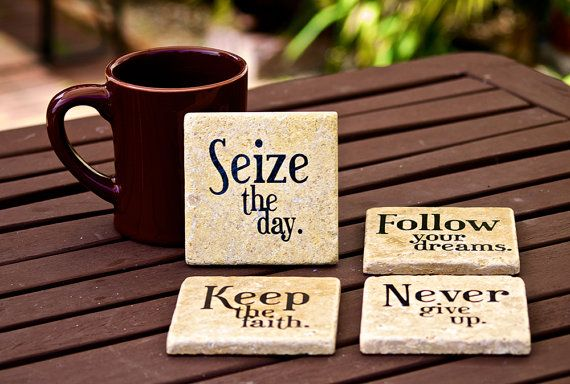 4 x 4 Travertine Inspirational Coaster with vinyl lettering - set of 4