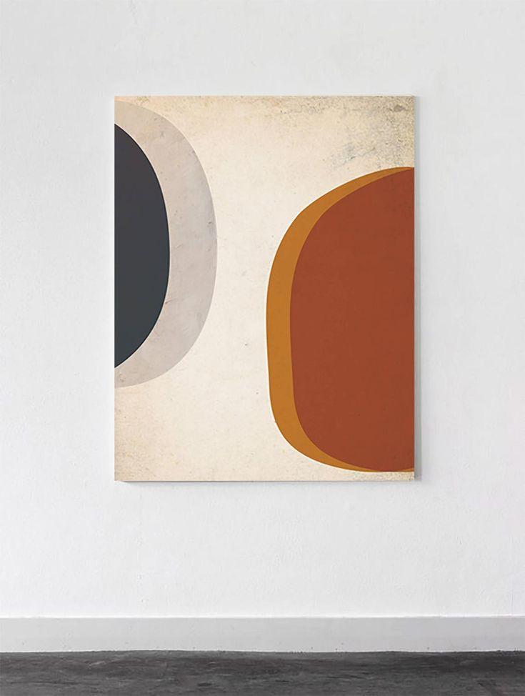 Große abstrakte Mid Century moderne Druck | Mid Century moderne Kunst | Abstrakte geometrische Wandkunst | Blau rot Orange | Marine Kunst | Beige rote Kunst