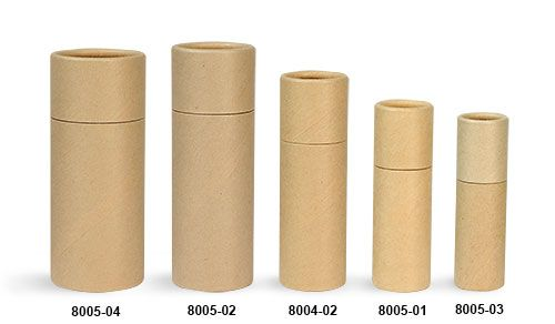 Brown Paperboard Push Up Lip Balm Tubes have a smooth sculpted look and are made from 100% paperboard.