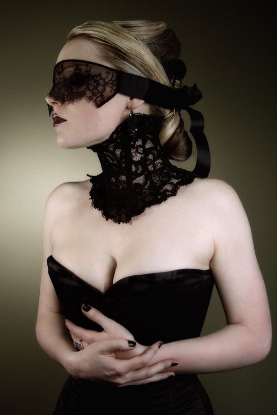 Elegant Victorian Steampunk lace neck corset and mask