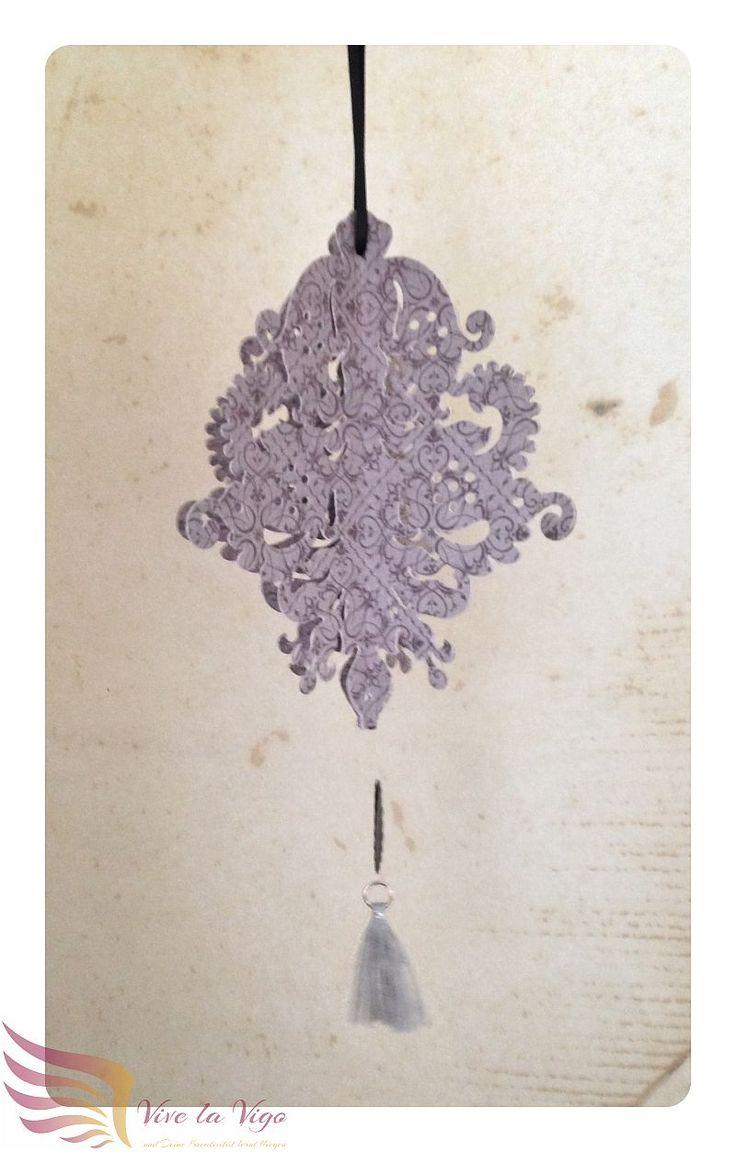 filigrane Hängedeko fliederfarben mit Tassel