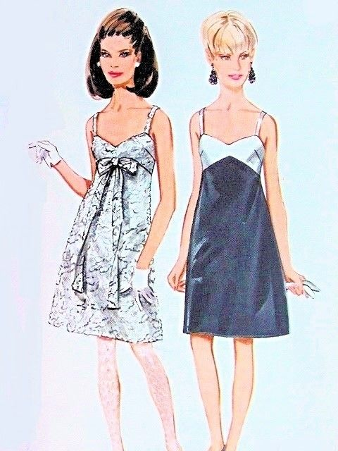 1960s Slip Cocktail Party Evening Dress Pattern Butterick 4661 Sweetheart Neckline A Line Dress Two Style Versions Bust 36 UNCUT Vintage Sewing Pattern