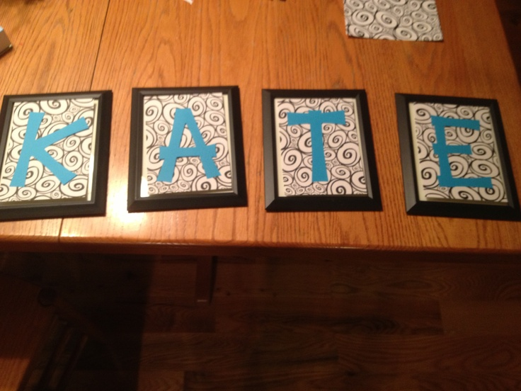 5x7 photo frame with Cricut letters on patterned cardstock ...