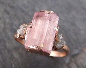 RAW Uncut Aquamarine diamant or bague de fiançailles par byAngeline