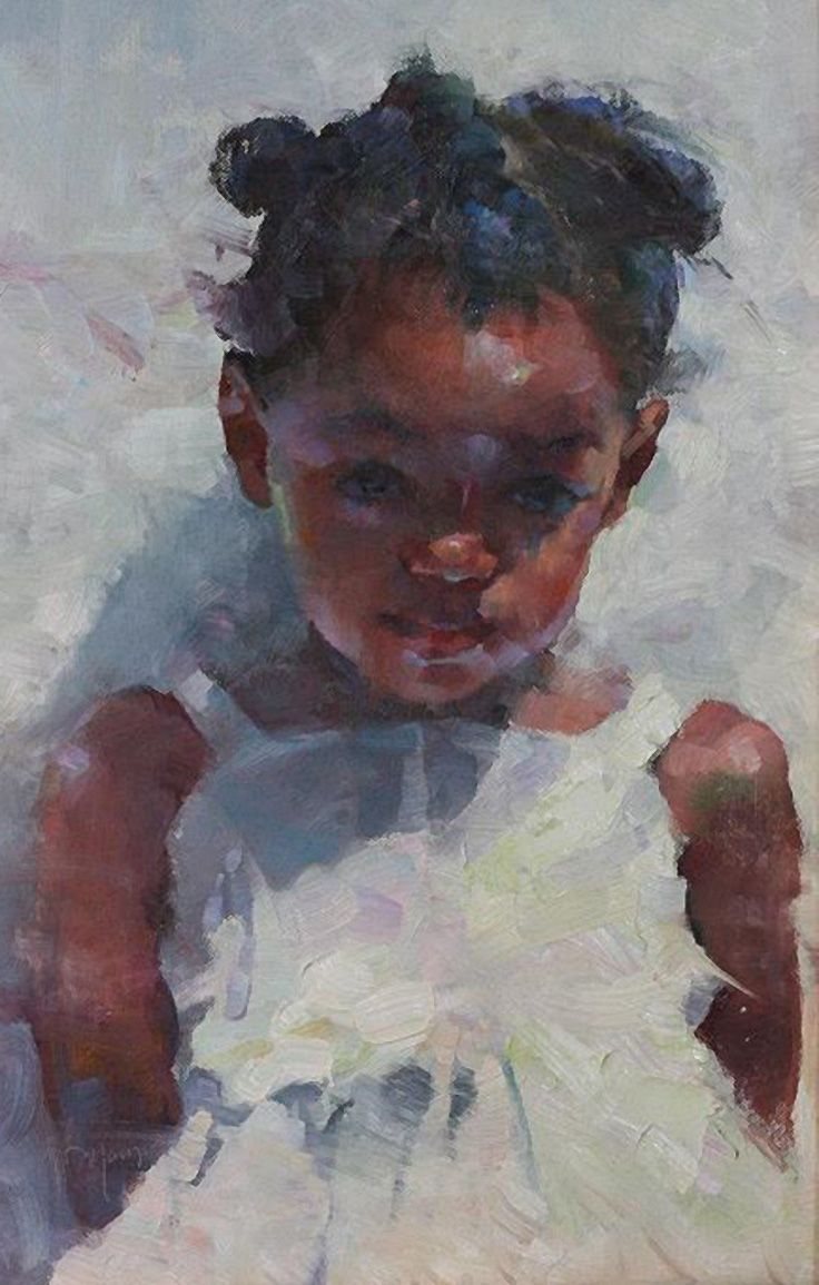 Artist: Michael Maczuga (b. 1957), oil on panel {figurative #impressionist art cute young female child african-american black girl face portrait cropped painting #loveart} michaelmaczuga.com