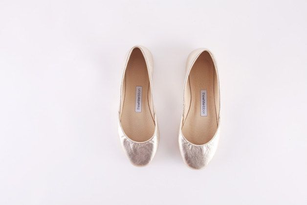 Ballet Flats – up-cycled leather ballet flat shoes | gold – a unique product by thewhiteribbon on DaWanda