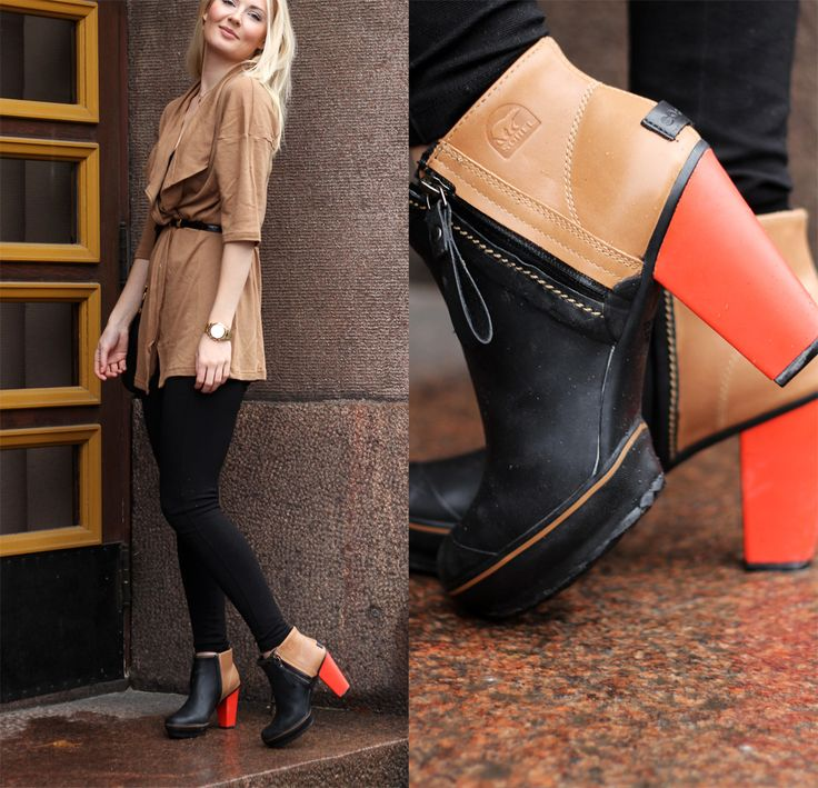 SOREL Medina Rain Ankle Boot | That top is gorgeous and perfectly matches the camel block on the Medina!