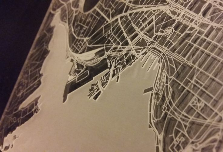 The acrylic top of Jacks serving tray. It's a map and it's Oslo. Laser engraved. I love my city!