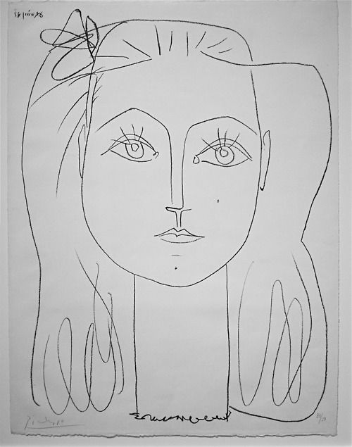 Francois with Bow - Pablo Picasso. One of my favourite Picasso drawings. I like Picasso's drawings the most. Their form is always so beautiful, precise, and moving, capturing the essence of the subject.