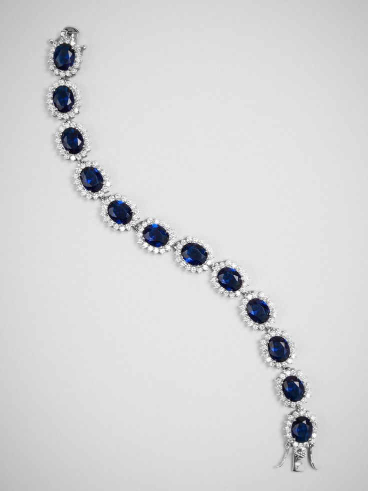 One of our most popular floral motifs decks this lovely bracelet, in a blue sapphire shade that looks gorgeous next to a blue or white bouquet.