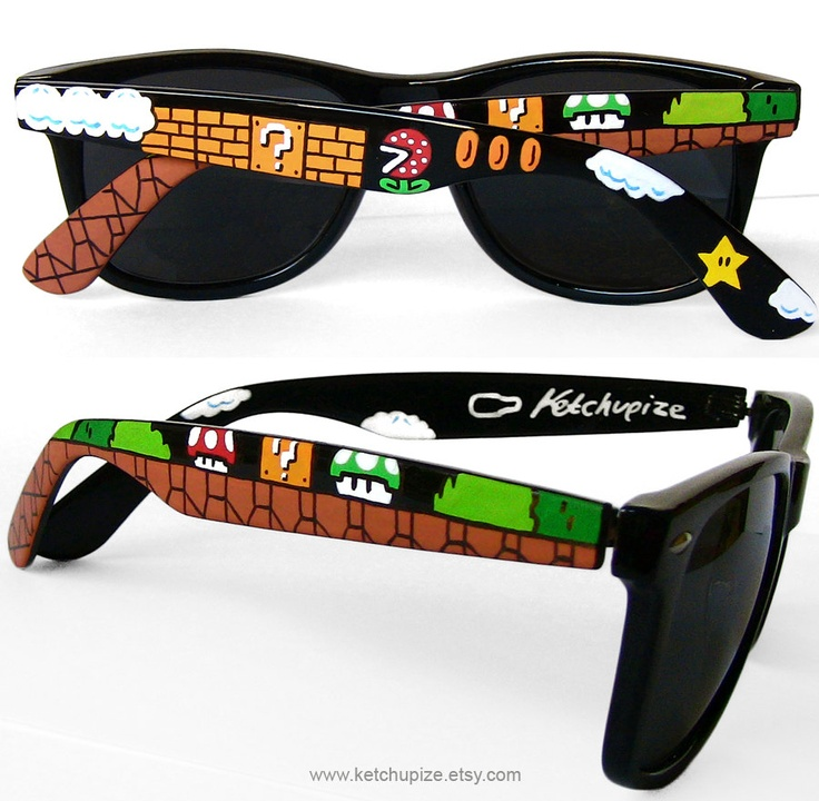 Mario sunglasses gamer gift for her handpainted wayfarer nerdy gift for boyfriend unique geeky birthday gift for him men 8bit 1UP video game