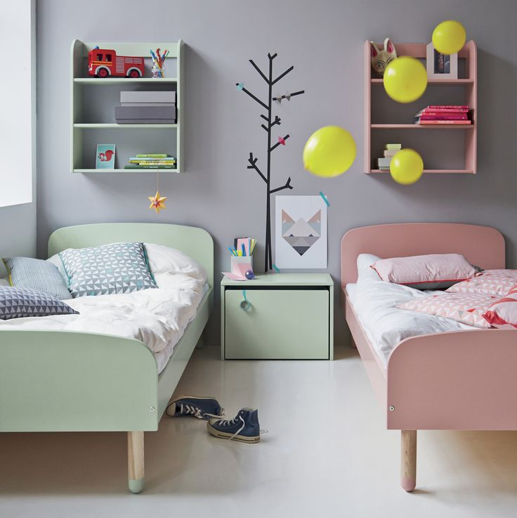 Flexa Kids Single Beds in Mint Green and Pink - the perfect pastel toddler's room!