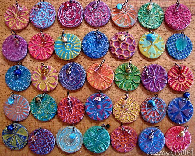 paperclay pendants by Regina (creative kismet), via Flickr
